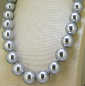 Wholesale 8mm G16nuine Silver Gray South Sea Shell Pearl Round GEMSTONE Necklace quot