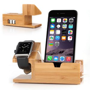Wholesale NEW Bamboo Wood Charging Stand Charging Dock Station Holder for iPhone and Apple Watch High Quality