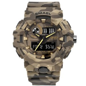 Wholesale Latest design Smael Camouflage Outdoor Military Sports m Waterproof Dual Display Men s Watch Multi function LED Electronic Watch