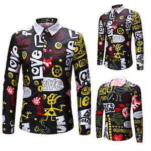 Fashion New Letters Print Shirt Male Printing Color Mixing Leisure Cool Shirts For Men Long-sleeved Autumn Shirt on Sale