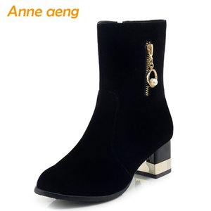 Wholesale New Winter Women Ankle Boots High Square Heel Round Toe Zipper Elegant Sexy Ladies Women Shoes Black Short Boots Big Size
