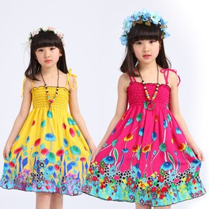 Lovely Girls Cotton Backless Bohemian Beach Dress Summer Elastic Bust with Shoulder-straps Children Dress 6 Colors