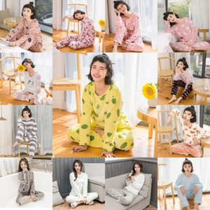 Wholesale Coral Velvet Winter Women Pajama Sets Female Flannel Round Neck Cute Cartoon Camel White Letter Home Service Winter Warm Suit