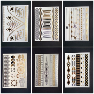 Wholesale henna style hand tattoos resale online - Flash Metallic Gold Silver Waterproof Temporary Tattoos Tattoo Supplies Henna Flower Necklace Bracelet Tattoo Stick Paster Styles