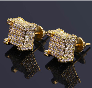 Wholesale Fashion Screw back CZ Earrings Stud Men Brand Designer Luxury Hiphop Full Rhinestone Jewelry Gold Silver Copper Pierced Ear Stud Jewelry