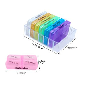 Wholesale Weekly Pill Case Medicine Storage plastic container box for Day Tablet Sorter Dispense Daily Pill holder Case Organizer