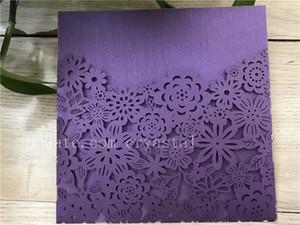 Wholesale white purple wedding invitation card for sale - Group buy Purple Elegant Laser Cut Wedding Invitations Pocket Delicate Bridal Shower invitations Birthday Invitations Greeting Cards Invite Card