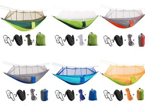 Wholesale Camping Double Hammock Mosquito Net Outdoor Travel Bed Lightweight Parachute Fabric Portable Hammock For Travel Hiking Beach Free DHL G674F