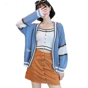 Wholesale Girl Casual Knitted Cardigan Autumn Korean Women Loose Patchwork Sweater Blue Coat Long Sleeve Jacket