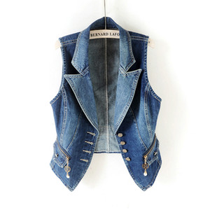New Denim Vest Women Short Jacket Casual tops Spring Summer Sleeveless Jeans Outerwear Suit collar Slim Female Waistcoat H578