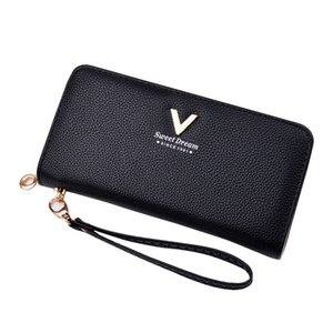 Wholesale NIBESSER Women Solid Long Purse PU Leather Wallet Lady Handbag With Wrist Strap Phone Holder Clutch Bag Hot