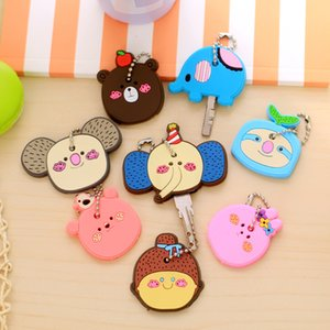 Wholesale Cartoon Animal Silicone Cute Elephant Key Cover Cap Fashion Keychains Women Chain Ring Holder Gifts Pendant Jewelry