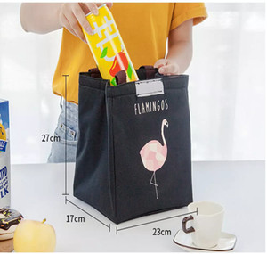 Wholesale 20PCS Flamingo Print Thermal Bag Waterproof Lunch Bags Portable Insulated Oxford Tote Food Picnic Lunch Bags DHL
