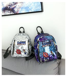 Wholesale Girls Sequins Lip Backpack Women Shoulder Bag Schoolbags Handbag Satchel Bag Cute Bling Mini Backpacks Colors OOA4046