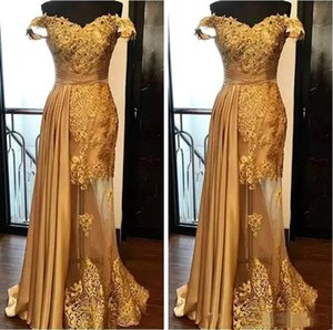 Wholesale Elegant Gold Mermaid Evening Dresses Latest 2019 Lace Beaded Prom Dress Ruched Floor Length Illusion Skirt Formal Party Gowns Plus Size