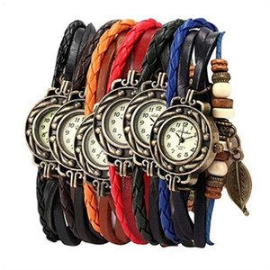 Wholesale Women Multilayer Weave Wrap Link Leather Bracelet Quartz Wrist Watch Women s Watches Vintage Wrap Around Bead Leaf Bracelet Quartz