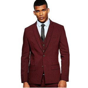 Wholesale ivory vest for groom resale online - Designs Burgundy Men Suits for Wedding Suit Best Men Blazer Prom Wear Slim Fit Groom Tuxedo Piece Vest Jacket Pants Terno Masculino