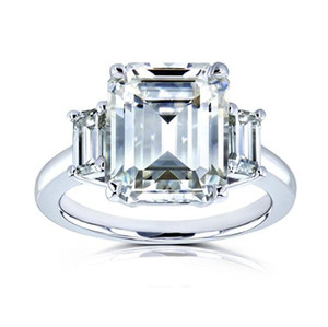1ct diamantringe großhandel-1CT CT CT Weißgold Drei Emerald Cut Fashion Lab Diamant Moissanite Ring mit Zertifikat