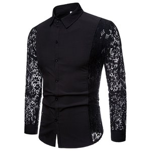 Wholesale Men Casual Shirts Fashion Autumn Lace Sleeve Cotton Mens Long Sleeve High Quality Shirt Casual White Black Dress Shirts