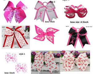Wholesale cancer ribbons for sale - Group buy 8 quot Breast Cancer Cheer Bows With Elastic Hair Band For Kids Girls Large Handmade Printed Ribbon Hair Bows Hair Accessories style
