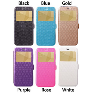 Wholesale View Window Mobile Phone Flip Cases PU Leather Cover Diamond Grain Surface Models for Option