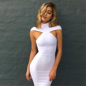 New Fashion Women Sexy Bandage Dress Sleeveless Evening Party Dress Solid Color Halter Design Women Pencil Dress