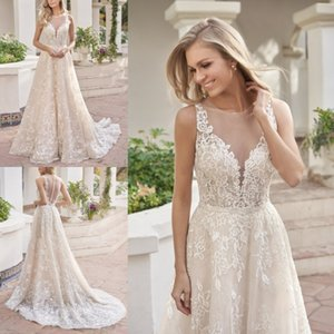 2019 New Custom Made Sexy Wedding Dresses Sheer Jewel Neck Beaded Lace Bridal Gowns Sweep Train Plus Size Wedding Dress on Sale