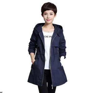 Wholesale Kcoors Spring Autumn Hooded Trench Coat Plus Size 4XL 5XL Slim Leisure Women Trench Twill Cotton Adjustable Waist Female Coat