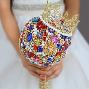 Wholesale Luxurious Crystal Rhinestones Bride Bouquet Royal Wedding Bride Bouquet Red Square Blue Gold Crown Jewelry Wedding Bouquet