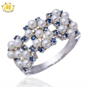 Hutang Natural Freshwater Pearl and Blue Sapphire Solid Sterling Silver 925 Ring Women's Fine Jewelry Anniversary Gift