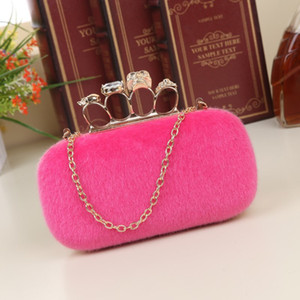 Wholesale 2017 NEW Noble Women Velvet Clutch Purse Cute Small Evening Bags Bridal Handbags BLACK BLUE PINK RED Wedding Shoulder Bag