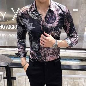4ff0779d248 Fashion Casual Men's Long Sleeve Shirt Spring And Autumn New M-3XL Print  Slim Shirt