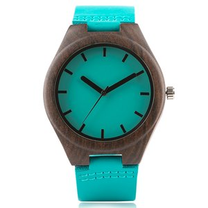 Creative Blue Fashion Quartz Wristwatch Watch Men Simple Design Dial Genuine Leather Band Sandalwood Case Casual Fashion Male Watches