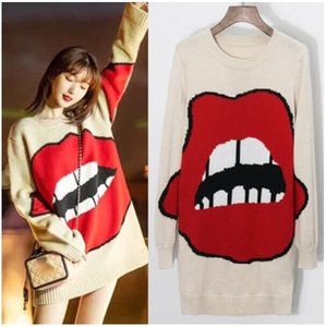 Wholesale 2019 Spring Women s Hot Fashion Design Big Red Lips Pattern Knitted Pullover Casual Loose Fit Sweater Academic Style Knit Jumper Top
