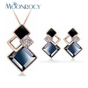 MOONROCY Drop Shipping Rose Gold Color Necklace and Earrings Square Grey Brown Crystal Jewelry Set for Women Girls Gift