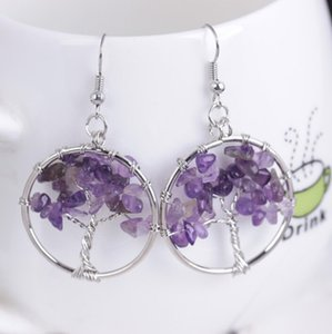 Tree of Life Earrings women Round earring Natural stone Jewelry Chip Gem Stone Crystal Dangle Hook Earring for girl