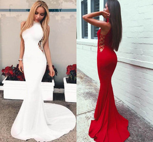 2018 High Neck Sexy Mermaid Evening Dresses Sleeveless Sweep Train Cutaway Sides Charming Popular Design Party Prom Dresses on Sale