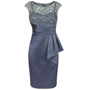 Wholesale Hot Selling Sleeveless Dark Navy Taffeta Mother of the Bride Dresses Knee Length Mother of the Groom Dresses