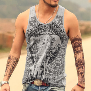 Grey Men Tank Top Casual Fitness Singlets Brand Mens T -Shirt Sleeveless Gasp Hip Hop Vest Elephant Print Cotton Undershirt