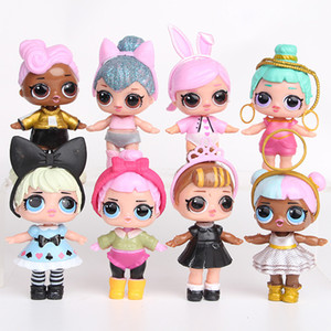 Wholesale 9CM LoL Dolls with feeding bottle American PVC Kawaii Children Toys Anime Action Figures Realistic Reborn Dolls for girls 8Pcs lot kids toys