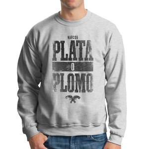 Wholesale Men Plata O Plomo Pablo Escobar Narcos Silver Or Lead Hoodie Hipster Sweatshirts Organic Cotton Travel Pullovers Apparel