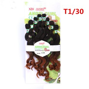 Loose Deep Curly Body Wave Sew In Synthetic Hair Weave Bundles Non-Remy Angel Culr Hair package colored T1B 30 blonde hair 8pcs on Sale