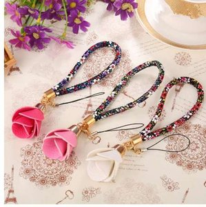 Wholesale Beautiful Universal Flower Wrist Neck Strap Lanyard U Disk Holder ID Work Card Mobile Cell Phone Chain Straps Keychain Hang Rope