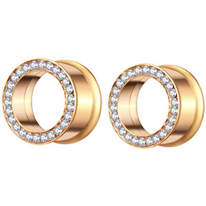 Gold Flesh Tunnel Surgical Steel Body Jewelry Ear Expander Gauge Stretcher Earring Piercing Plug for Women Men 70pcs