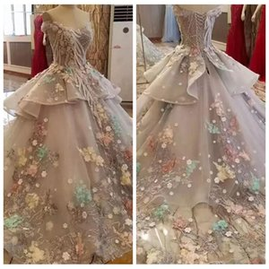 Wholesale 2018 Beautiful Grey Off The Shoulder Floral Appliques Wedding Dresses Spring Summer Tulle Custom Bridal Gowns Lace Appliques Dubai Colorful