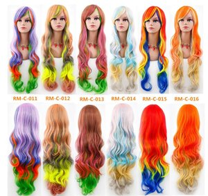 Wholesale Ombre Wigs Fashion lolita Sexy Womens Long Wavy Curly Full Wig Party Cosplay Fancy Dress Costume Wigs Colors FZP39