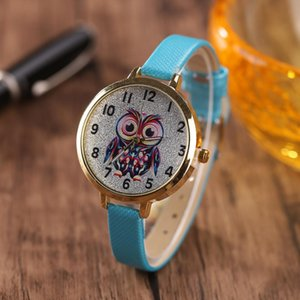 Wholesale 2017 new silver big eyed owl student cartoon watch female models thin belt watch