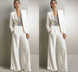 2021 New Bling Sequins Ivory White Pants Suits Mother Of The Bride Dresses Formal Chiffon Tuxedos Women Party Wear New Fashion Modest 2018