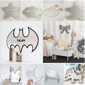 Wholesale 29 Styles Cartoon Decorative Mirror Bathroom Baby Room Rabbit Bowknot Wall Mirror Acrylic Frame Creative Home Art Decoration Xmas Gift