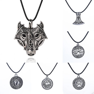 Wholesale Norse Viking Amulet Necklace Ancient Silver Wolf head Bear paw tree of Life War Horse Pendant Leather rope Chain For Men s Jewelry